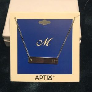 M silver bar necklace
